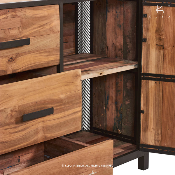Detail view of a modern reclaimed salvaged fishing boat wood buffet or entry table with 3 drawers and 2 doors with perforated steel details from the Chic Furniture Collection at Impact Imports.