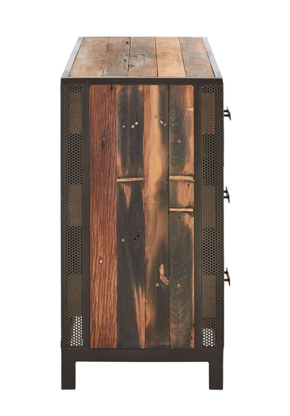 End view of a Modern reclaimed salvaged fishing boat wood buffet cabinet with 3 drawers and 1 door with perforated steel details from the Chic Collection at Impact Imports.