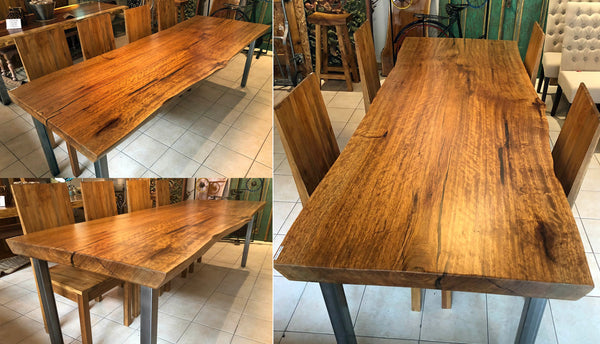Collage picture of a canela cinnamon wood dining table with a satin urethane finish.
