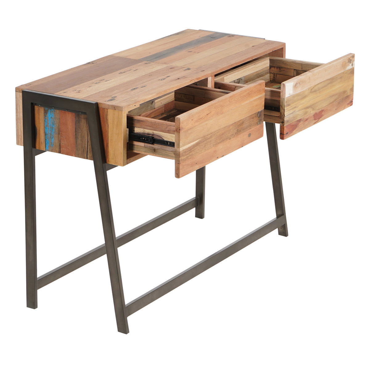 timeless design fe5b9 cd235 Modern Salvaged Boat Wood Console Table, 2 Drawers - SUN Collection