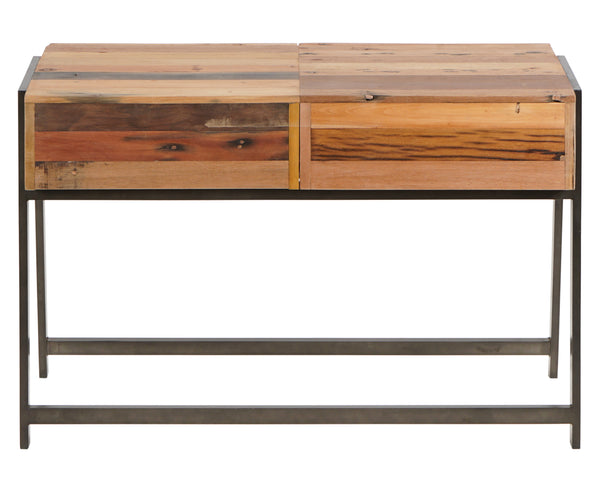 Rear view of a Modern, simple salvaged fishing boat outrigger canoe wood console, sofa or entry table from impact imports furniture store