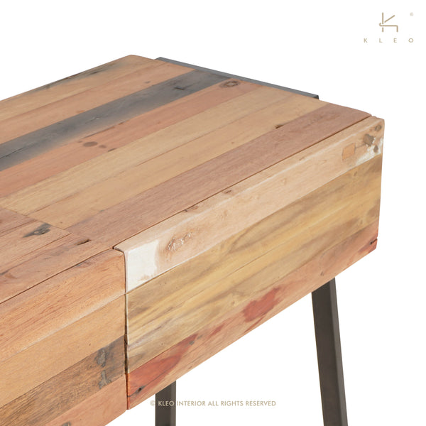 Detail view of a Modern, simple salvaged fishing boat outrigger canoe wood console, sofa or entry table with 2 drawers from impact imports furniture store