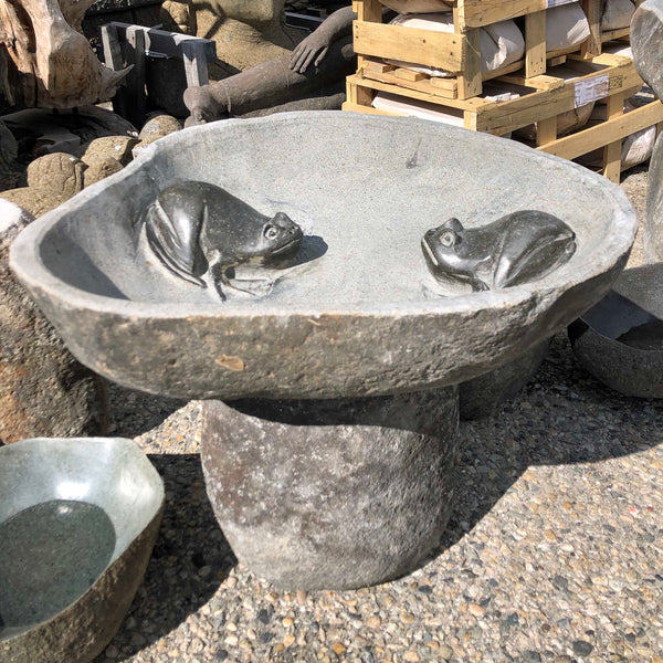 River boulder rock bird bath with FROG motif.  Bowl is hand cut from a single piece of natural stone.