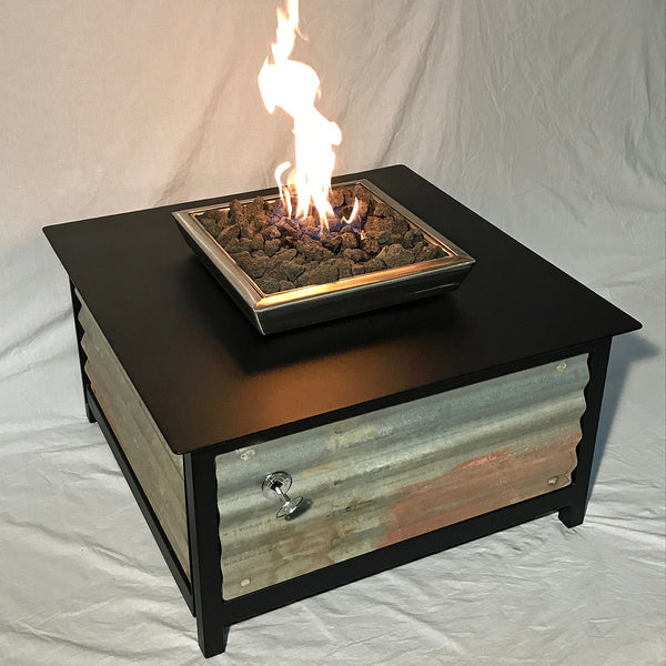Raven Black Fire Table, Square, Corrugated Panels (limited edition) - Impact Imports