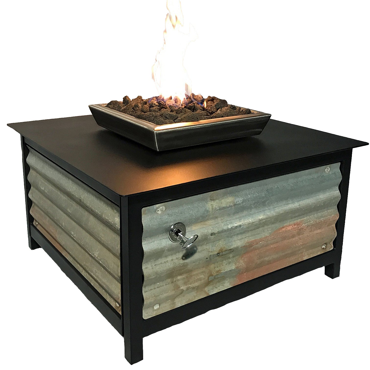 An edgy, urban, contemporary, modern industrial rustic farmhouse style, heavy duty steel Square shaped IMPACT propane or natural gas burning Fire Table or fire pit with salvaged corrugated steel exterior side panels and a raven black powder coated frame and table top for entertaining or relaxing outdoors on your patio, rooftop deck or in your garden.  Made in America USA.