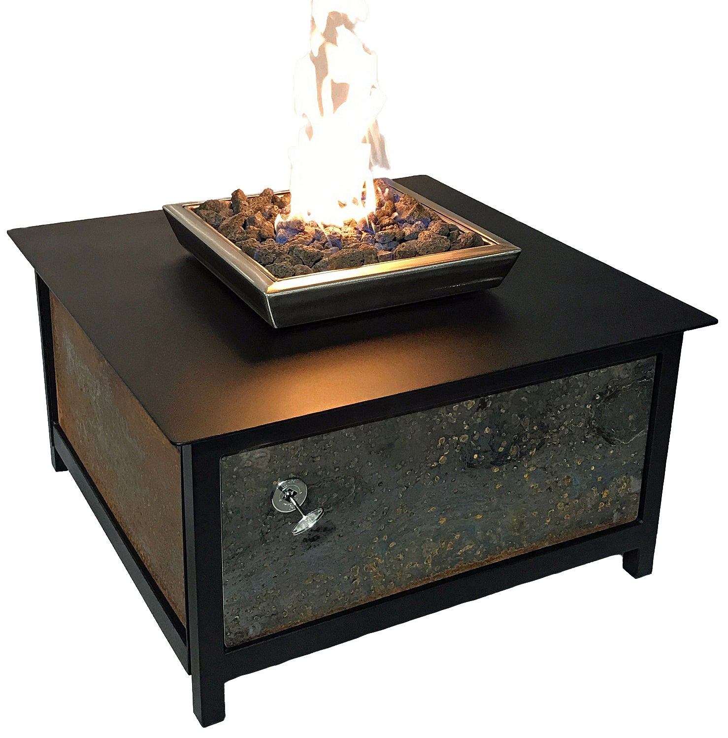 Raven Black Fire Table, Square, CorTen™ Steel Side Panels - Impact Imports