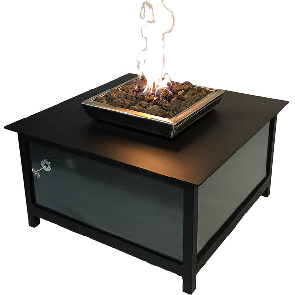 Raven Black Fire Table, Square, Silver Vein Side Panels - Impact Imports