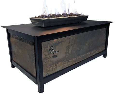 A heavy duty, high quality rectangular shaped outdoor steel fire table with raven black frame and table top and salvaged recycled raw steel side panels for burning propane or natural gas.  Made in the USA America.