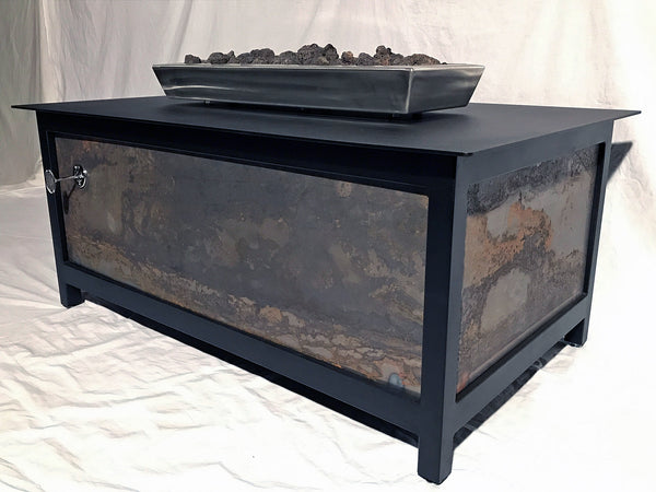 IMPACT Fire Table, Raven Black Frame, Square, CorTen™ Steel Side Panels - Impact Imports
