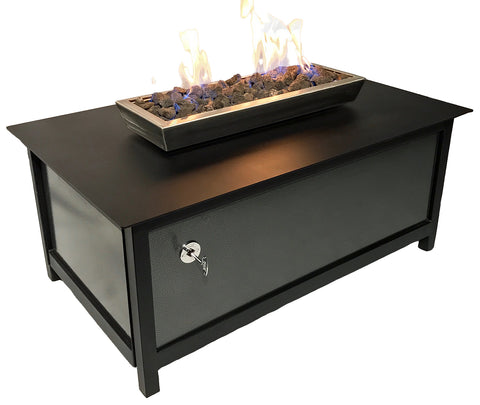 A premium quality, modern style, heavy duty steel rectangular shaped IMPACT propane or natural gas burning Fire Table or fire pit for entertaining or relaxing outdoors on your patio, rooftop deck or in your garden.  Made in America USA.