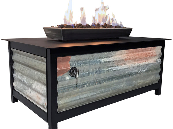 IMPACT Fire Table, Raven Black Rectangular Frame, Corrugated Side Panels (limited edition) - Impact Imports