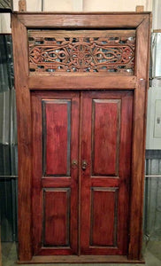 Salvaged Hand Carved Teak Door From Java Island - Impact Imports