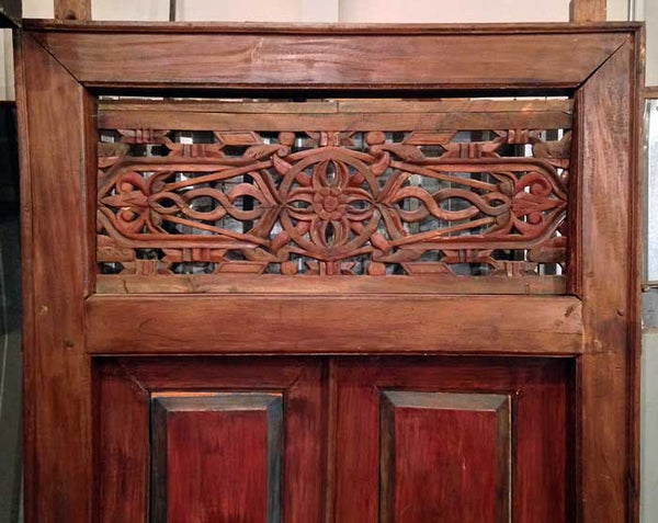 Salvaged Reclaimed Antique teak Javanese door and frame architectural element that was hand carved in East Java, Indonesia.