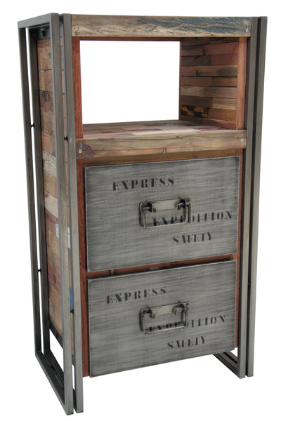 A tall dresser or chest with 2 drawers and 1 open shelf area hand crafted from steel and salvaged reclaimed repurposed fishing boat wood.