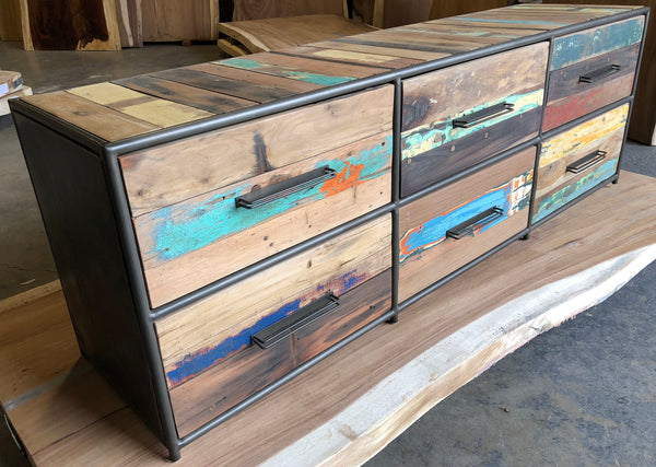 A great looking, compact yet functional salvaged reclaimed boat wood modern cabinet with 6 drawers that you could use for a dresser or a TV television gaming entertainment console with lots of storage.