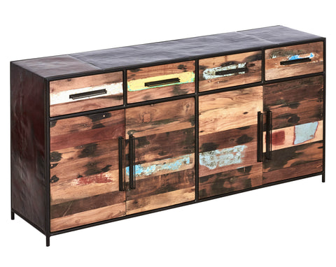 Modern / rustic large buffet cabinet made from powder coated steel frame and salvaged reclaimed and recycled fishing boat wood in Indonesia.