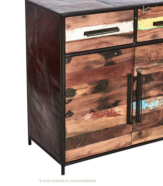 Modern Rustic Salvaged Wood Furniture Buffet, 4 Doors, 4 Drawers - KLEO Collection - Impact Imports