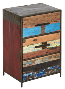 Modern / rustic dresser or chest or cabinet with 3 drawers made from powder coated recycled steel frame and salvaged reclaimed and recycled fishing boat wood in Indonesia.