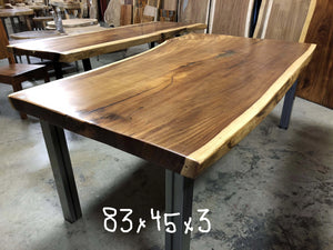 Sustainably harvested and kiln dried Natural Live Edge Wood Slab dining table conference table or desk at Impact Imports of Boise Idaho.