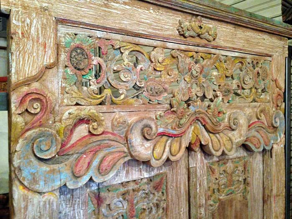 Salvaged Hand Carved Teak Door From Madura Island, Indonesia - Impact Imports