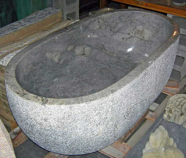 Modern Rustic Gray Marble Bathtub hand cut from a single piece of stone, Custom Order Only - Impact Imports