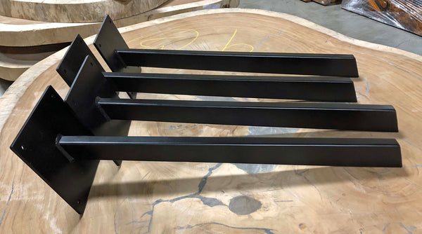 Mid century modern tapered steel table legs painted satin black with adjustable feet from Impact Imports