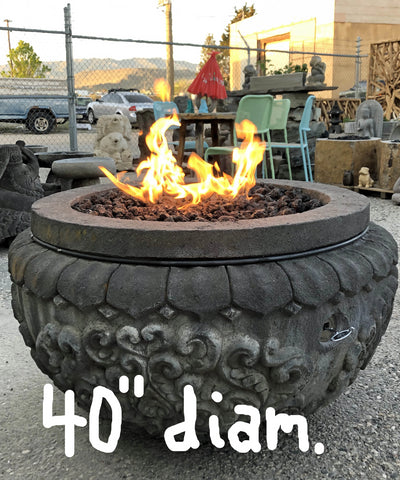 Natural Stone Gas Fire Pit, Hand Carved Lava Stone - Impact Imports