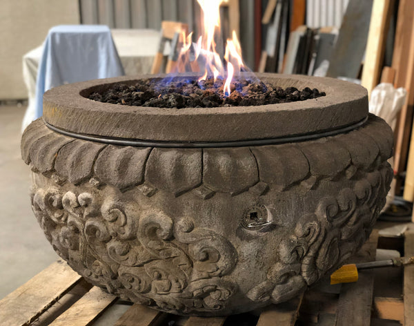 Natural Lava stone gas burning fire pit hand carved bowl with great detail from Impact imports in Boise Idaho