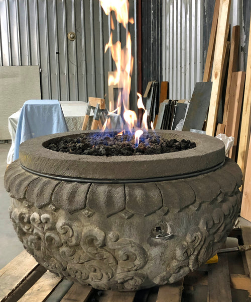 Natural Lava stone gas burning fire pit hand carved bowl with great detail