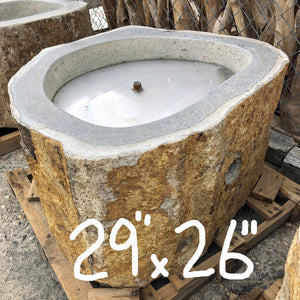 An Andesite natural organic stone gas fire pit hand carved from real rock for burning natural gas or propane from Impact Imports in Boise Idaho