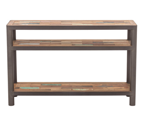 Console or sofa table with modern lines and 3 shelf tops made from powder coated steel frame and salvaged recycled reclaimed outrigger canoe fishing boat wood from the Impact Imports furniture store in Boise Idaho