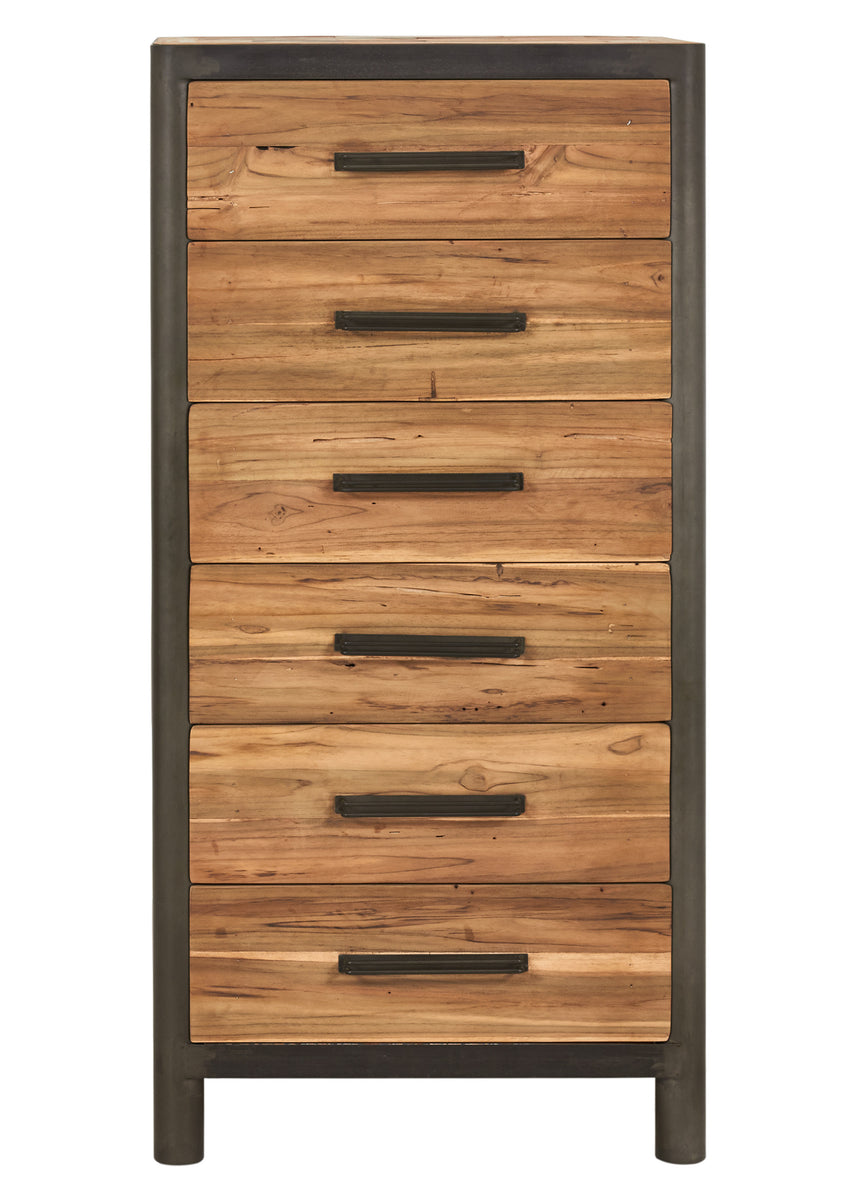 Modern salvaged wood steel tall chest dresser 6 drawers ocean c impact imports