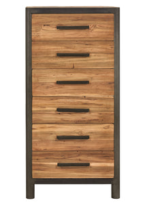 Modern Salvaged Wood & Steel Tall Chest / Dresser, 6 Drawers - OCEAN Collection - Impact Imports