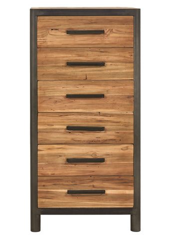 Tall modern style bedroom chest or dresser or office storage unit made from salvaged fishing boat wood and powder coated steel frame from the Impact Imports Furniture store in Boise Idaho.