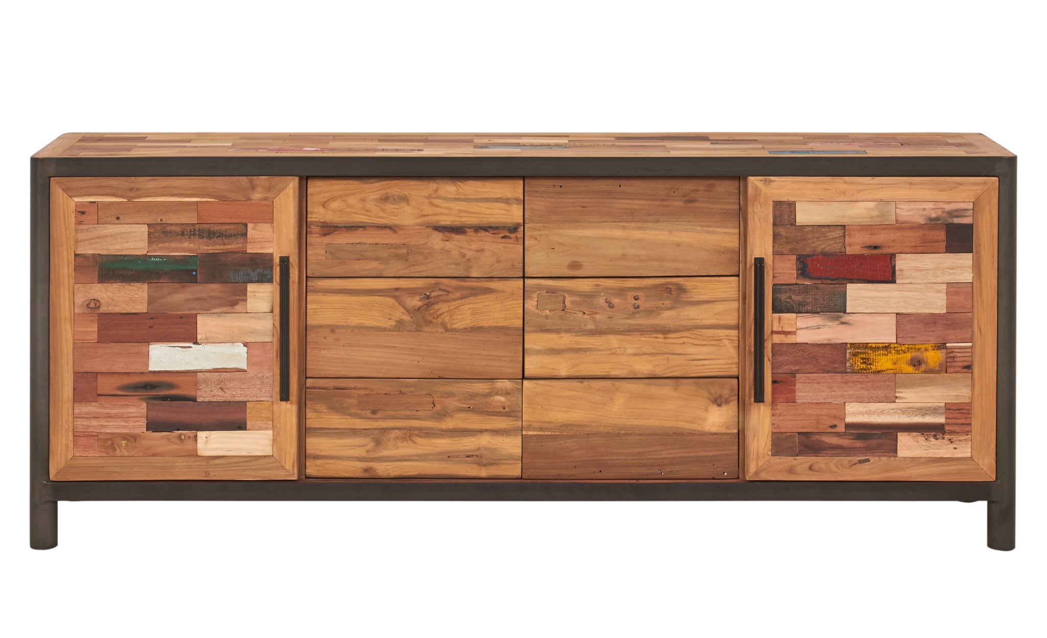 Modern Salvaged Wood & Steel Buffet, 2 Sliding Doors, 6 Drawers - OCEAN Collection - Impact Imports