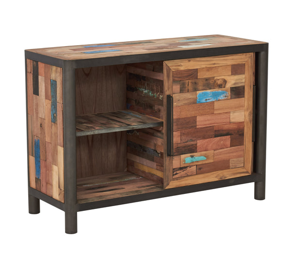 Modern Salvaged Wood & Steel Buffet or Vanity, 2 Sliding Doors - OCEAN Collection - Impact Imports