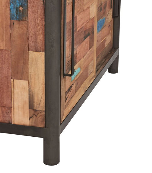 Detailed leg view of a Modern compact size buffet cabinet made from salvaged fishing boat wood and powder coated steel frame from the Impact Imports Furniture store in Boise Idaho.