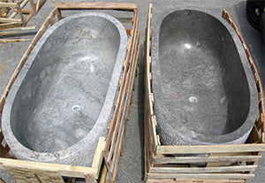 A pair of Modern Rustic Gray Marble Bathtubs each hand cut from a single piece of stone, Custom Order Only - Impact Imports
