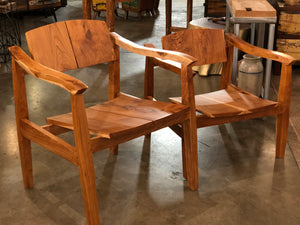 Reclaimed teak Bemo chair with a standard seat height of 18 inches and a mid century modern style design