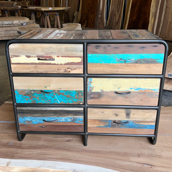 Retro Style Salvaged Wood Furniture Chest or Dresser, 6 Drawers - RETRO Collection - Impact Imports