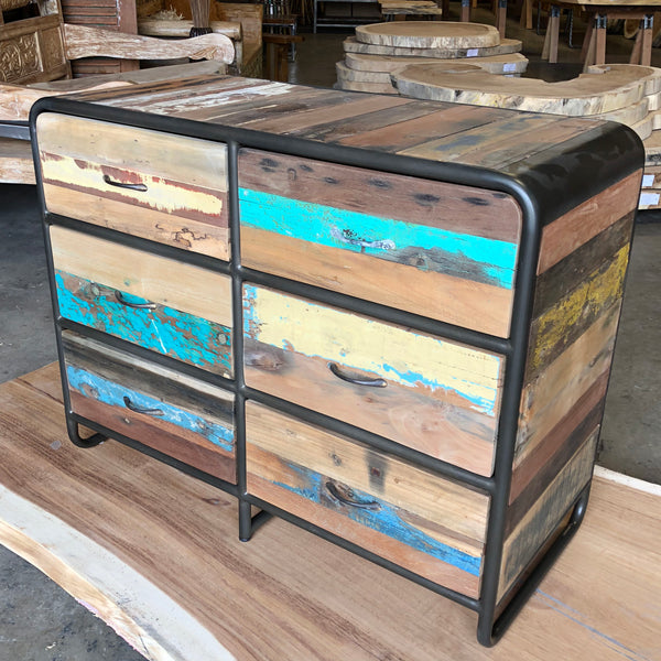 Retro style 6 drawer chest dresser made from reclaimed salvaged fishing boat wood in Indonesia.