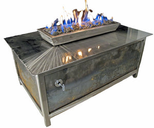 An Industrial Style Gas Fire Table • Stainless Steel • Rectangular - Impact Imports