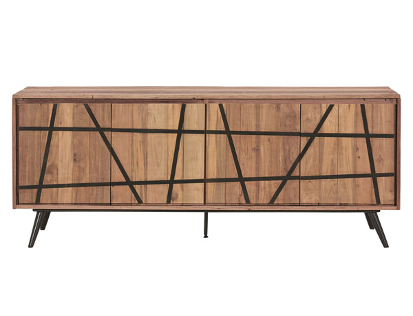 Modern / Asian Style Salvaged Wood & Steel Buffet, 4 Doors - SAKURA Collection - Impact Imports