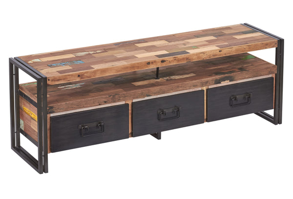 Salvaged Boat Wood TV or Gaming Console, 3 drawers - SAMUDRA Collection - Impact Imports