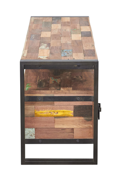 An end view of a TV television or gaming console with 3 drawers and 1 open shelf area hand crafted from steel and salvaged reclaimed repurposed fishing boat wood.