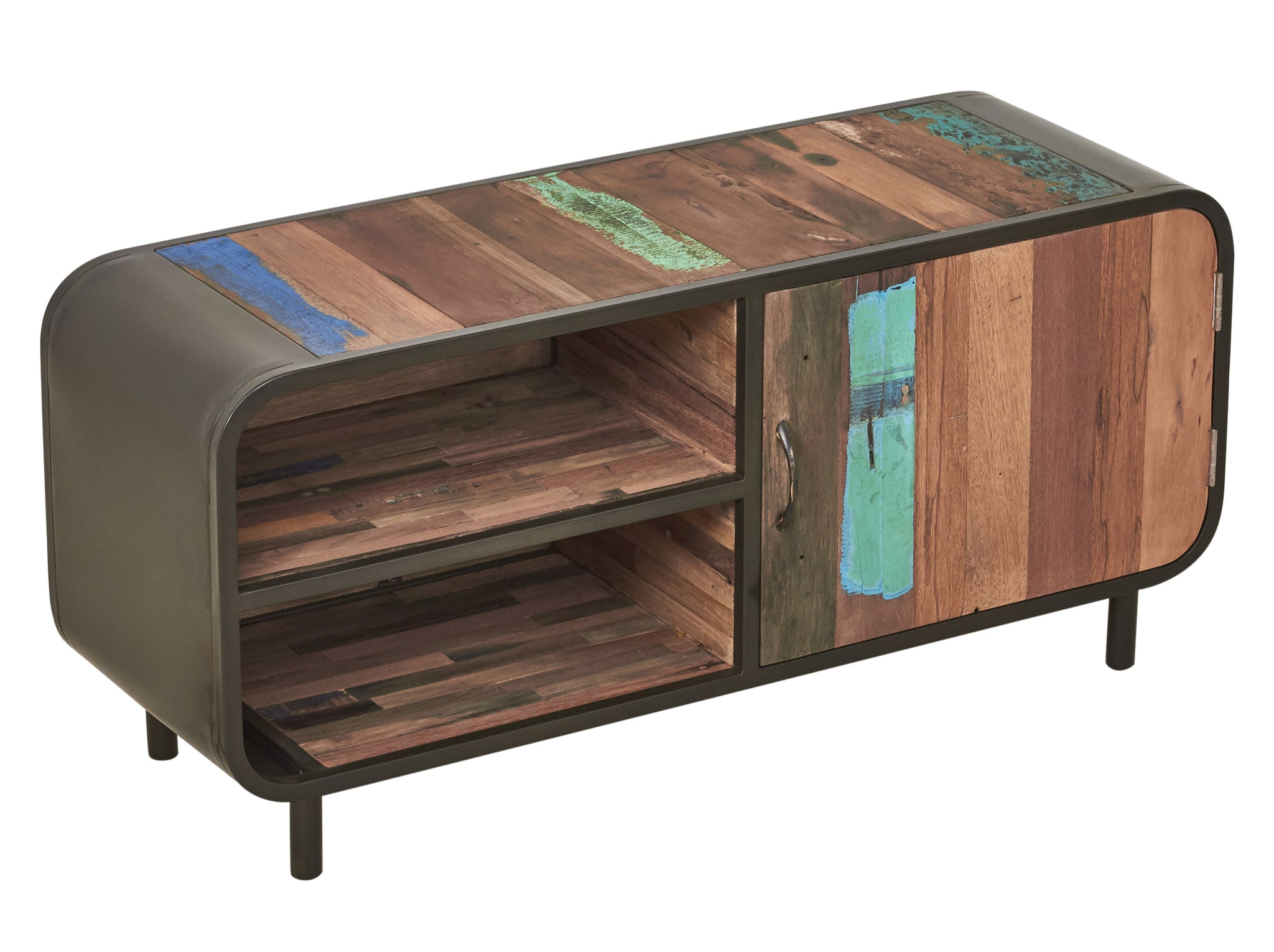 Mid century modern style tv entertainment or gaming console made from salvaged fishing boat wood and