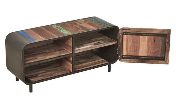 Modern Reclaimed Boat Wood TV or Gaming Console, 1 Door - SIXTIES Collection - Impact Imports