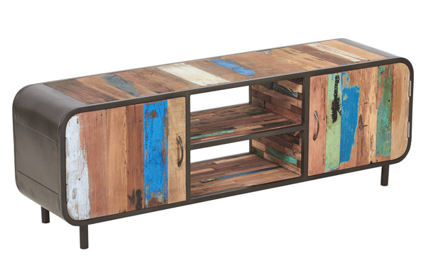 Mid century modern tv entertainment or gaming console made from salvaged fishing boat wood and powder coated steel from the Impact Imports furniture warehouse in Boise Idaho.