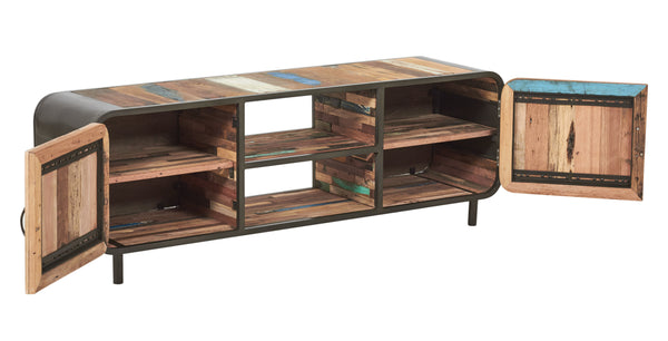 Modern Reclaimed Boat Wood TV or Gaming Console, 2 Doors - SIXTIES Collection - Impact Imports