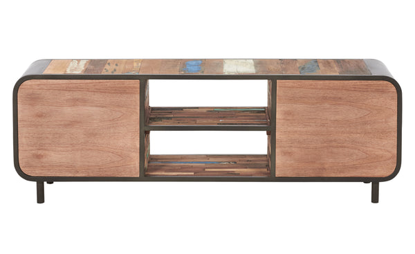 Rear view of a Mid century modern style tv entertainment or gaming console made from salvaged fishing boat wood and powder coated steel from the Impact Imports furniture warehouse in Boise Idaho.